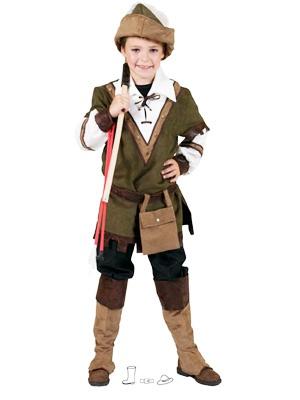 Costum Robin Hood deluxe, include bluza, pantalon, palarie, cizme tip acoperitoare incaltaminte, centura cu gentuta.