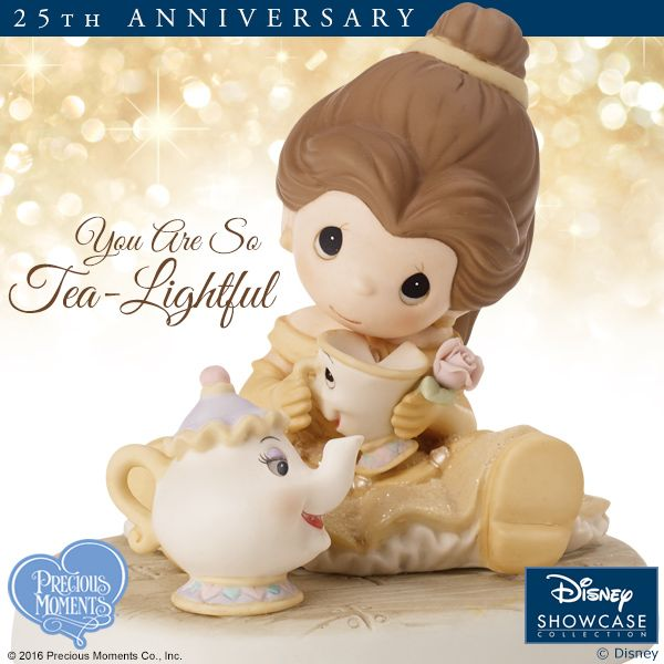 Well hello there, Mrs. Potts! We would LOVE to have some tea with you! Warm up the heart of a Disney fan with this darling little girl dressed up as Disney's Belle for a tea party with her favorite 'tea-lightful' friends.   #PreciousMoments #LifesPreciousMoments #DisneyShowcaseCollection #Disney #BeautyAndTheBeast