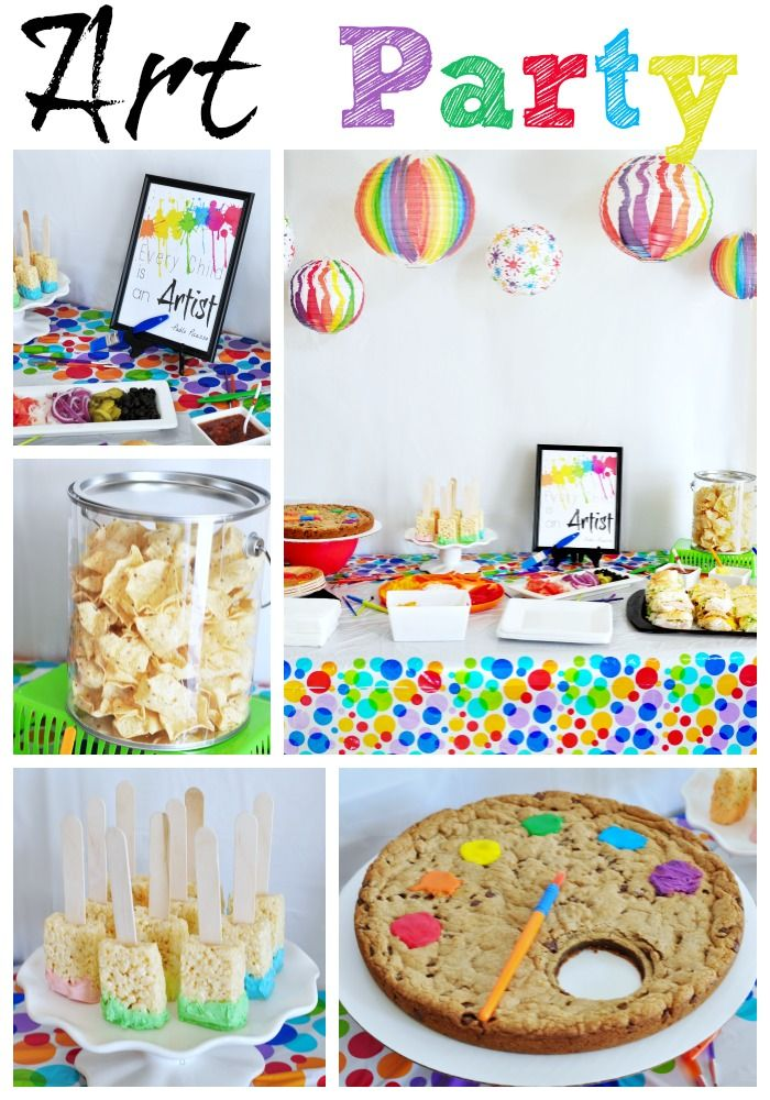 inspiration ideas for 9 year old birthday party at home.  Art Party Birthday Ideas party Birthdays and Favors