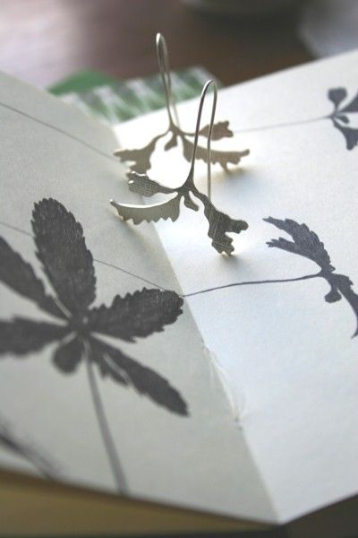 Shadow Leaf Silver Earrings... by abigailpercy on Etsy