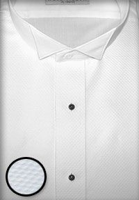 Wing collar tuxedo shirts. Priced from just $12.95.