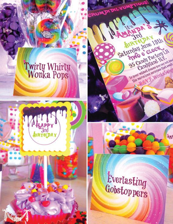 Willy Wonka Party, Candy Party - PRINTABLE PARTY COLLECTION - Cutie Putti Paperie. $50.00, via Etsy.
