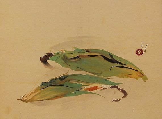 Still-life Corns. Japanese hanging scroll, Kakejiku. Kawabata Ryūshi (1885 - 1966)