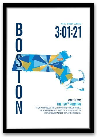 The perfect gift for a Boston Marathoner. Personalize this Boston Marathoner Map with your marathon runner's name,...
