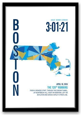 The perfect gift for a BostonMarathoner. Personalize this BostonMarathoner Map with your marathon runner's name,...