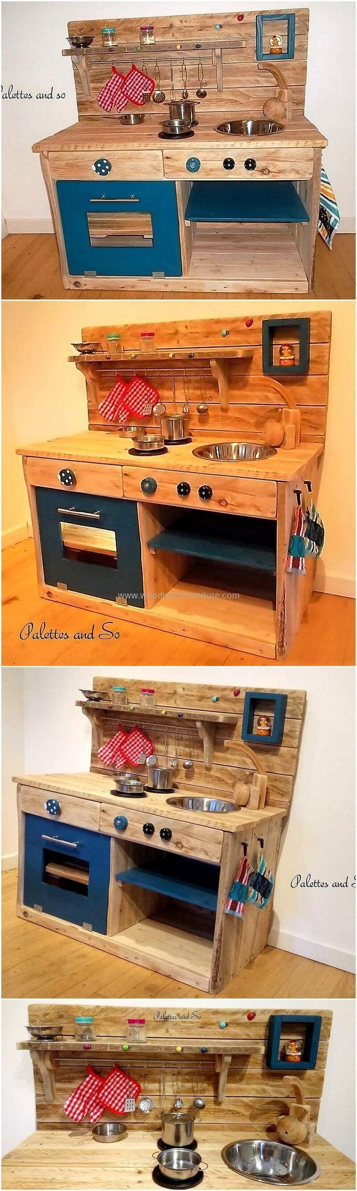 This is a complete wood pallets kid's kitchen mud created with up cycled pallets wood. This is the best gift for your little princess on her birthday if she really likes to work and play in kitchen. This pallets made kitchen mud has a large headboard crafted smartly so use as a shelving rack.