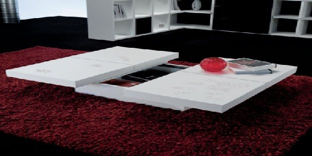 White Contemporary Coffee Table with Storage