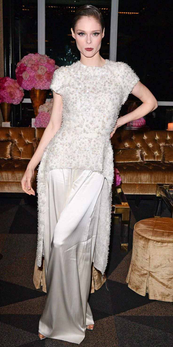 During Christian Siriano's Canadian book launch, Coco Rocha posed for the camera in the designer's silky trousers and sparkly top.