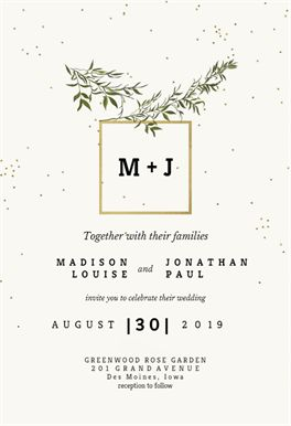 Olive leaves - Free Wedding Invitation Template | Greetings Island