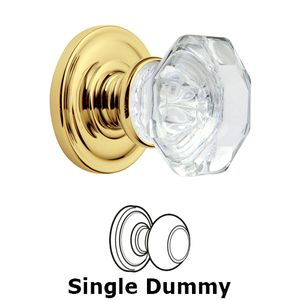 Baldwin Hardware   Filmore Crystal   Single Dummy Door Knob With Classic  Rose In Polished Brass