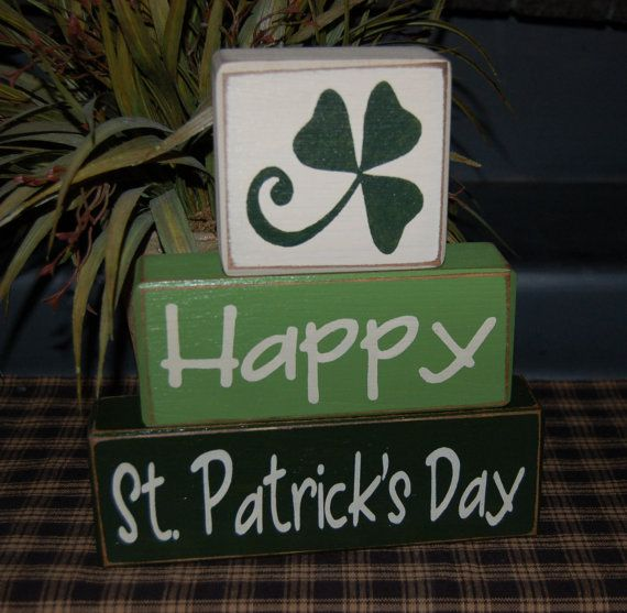 Happy St PATRICK'S Day Wood Sign Shelf by SimpleBlockSayings, $23.95