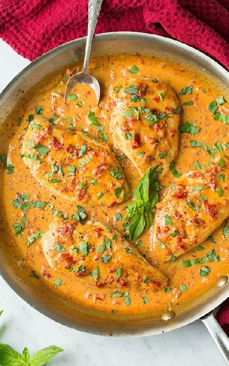 Low FODMAP and Gluten Free Recipes - Chicken, tomato and pesto sauce