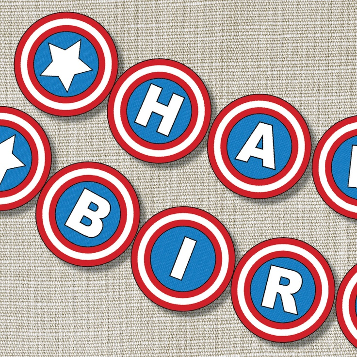 CAPTAIN SUPERHERO Happy Birthday Banner - Inspired - Captain America - Superhero - Banner- Invitation - Style B. $10.00, via Etsy.
