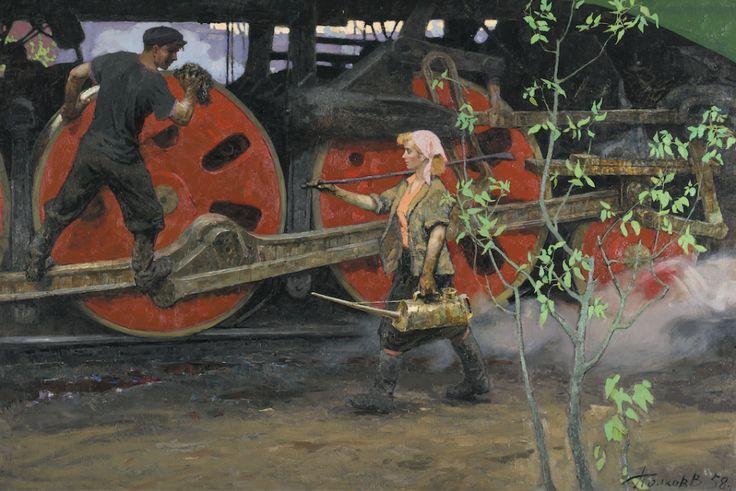 Viktor Popkov, 1932–1974, Spring at the Depot, 1958.