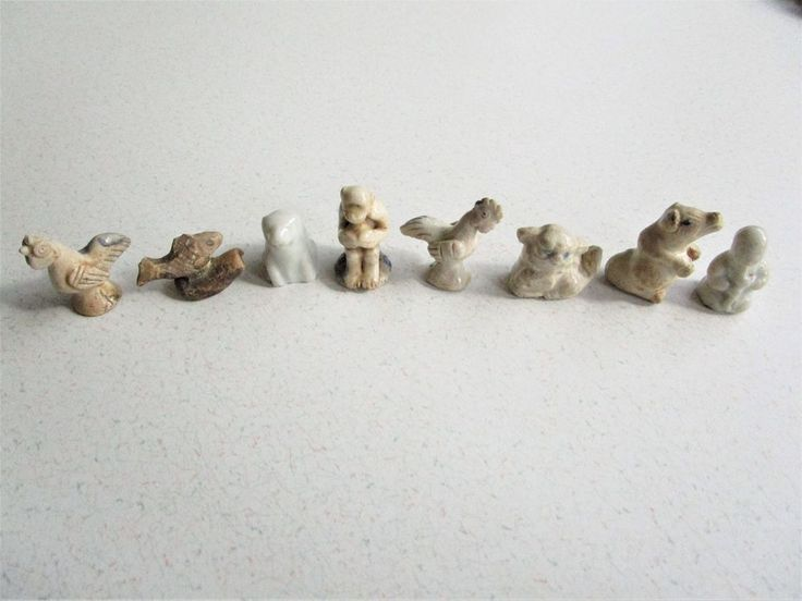 8 Antique Chinese Zodiac Clay Glazed Miniature Figures Year Monkey Dragon Pig