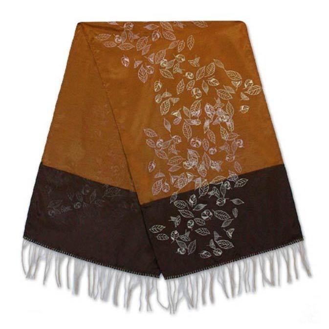 Novica Silk and Cotton Table Runner, 'Summer Equinox' (Thailand) (Table Runner), Brown