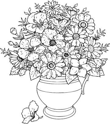 Vase of wild flowers hi coloring page for kids and adults from natural world coloring pages flowers coloring pages