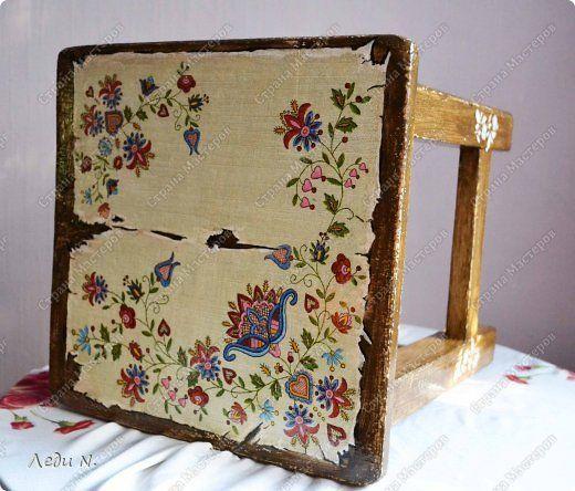 Декор предметов Мастер-класс Декупаж Табурет - из старого в  старинный Краска Салфетки фото 15