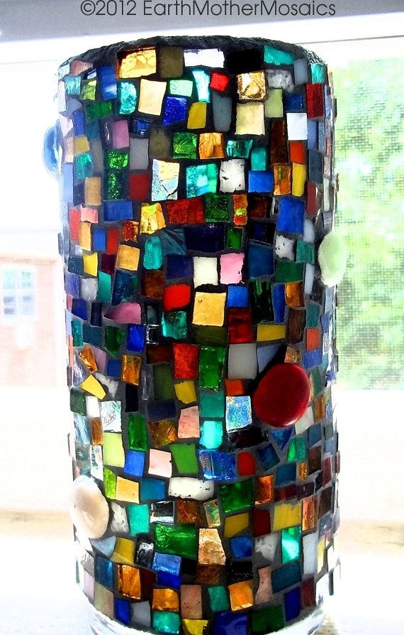 Mosaic Vase Candle Holder Stained Glass by earthmothermosaics, $50.61