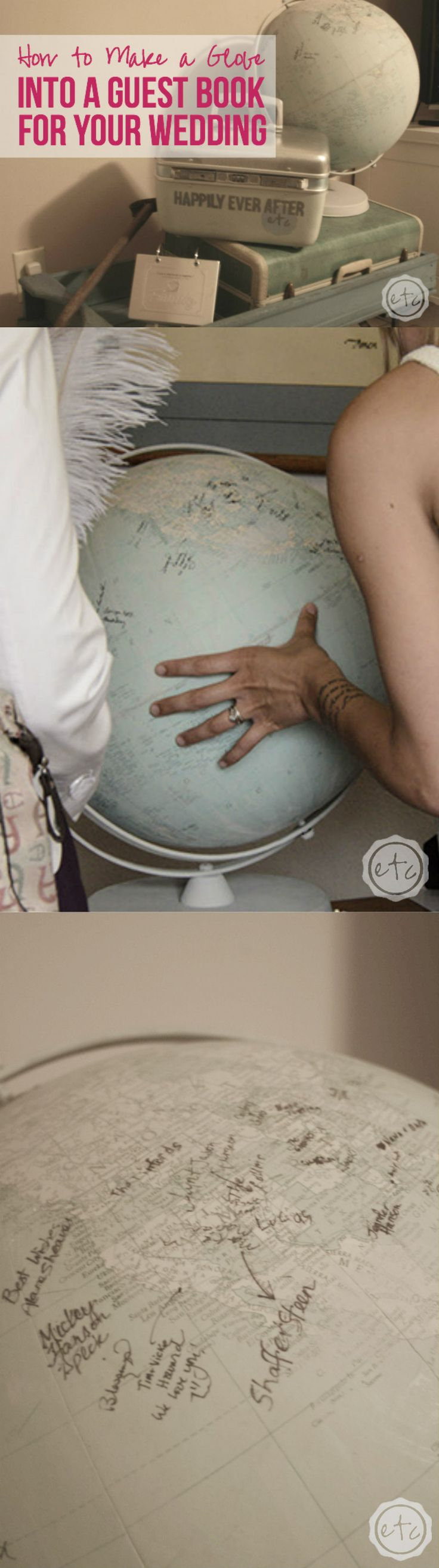 How to Turn a Globe into a Guest Book for your Wedding with Happily Ever After, Etc.