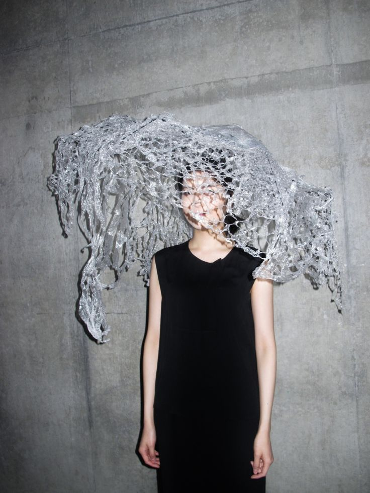 Sustainable Fashion Design - 3D sculptural headpiece made with recycled & manipulated clear plastics; wearable art // Akiko Shinzato, CSM student work 2014