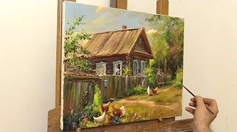 Октябрьский день. Мастер-класс на двух холстах. Autumn. Master class on two canvases by Oleg Buiko - YouTube