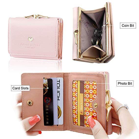 ceec88a049a3e7 Geldbörse Damen - Geldbeutel Damen Leder Brieftasche, Portmonee Damen Leder  Elegant Süß Handtasche Portemonnaie Geldbeutel