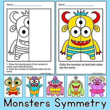 Practice symmetry by drawing and coloring these silly monsters! Perfect for math centers, early finishers and homework. This fun activity includes 6 monsters, each with three levels of difficulty. Great for grades K to 4.