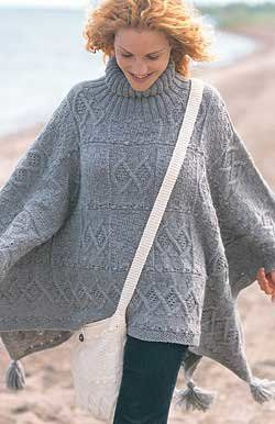Free Knitting Pattern - Women's Ponchos: Blanket Poncho