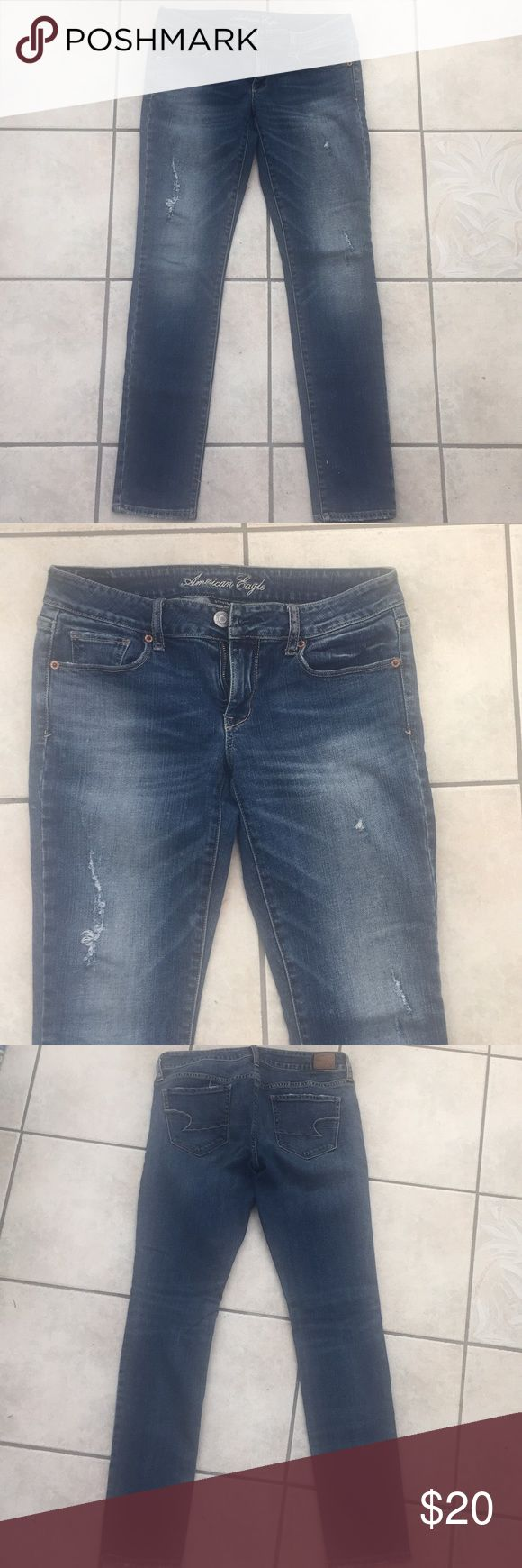 American eagle distressed skinny jeans Size 6 medium wash skinny jeans. These feel more like a relaxed fit skinny, like a boyfriend fit. Would look really cute with a rolled cuff and some tennis shoes. American Eagle Outfitters Jeans Skinny