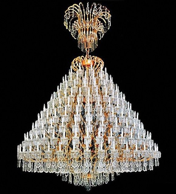 Pretty Large Crystal Chandelier Also France Size Gold Contemporary