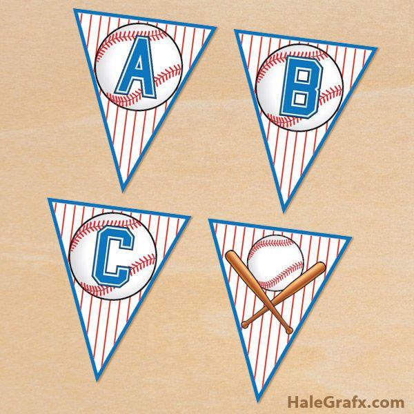 FREE Printable Baseball Alphabet Banner Pack