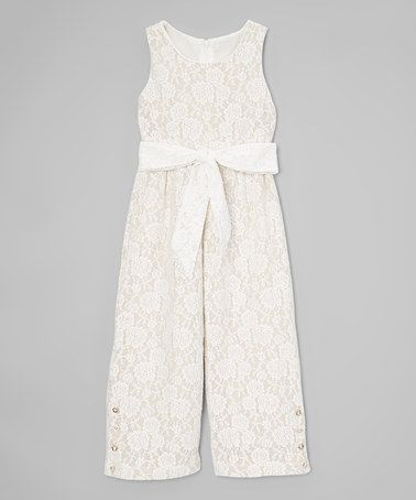 Look what I found on #zulily! Wheat Floral Lace Pantsuit - Toddler & Girls #zulilyfinds
