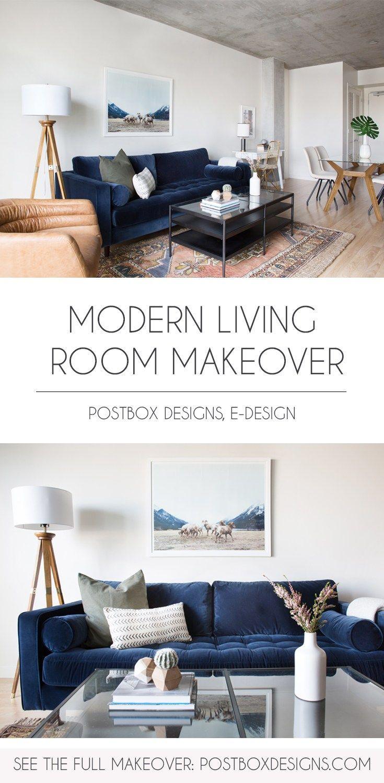 Postbox Designs Interior E Design A Modern Boho Living Room Dining Room Small Home Blue Couch Living Room Blue Living Room Decor Modern Boho Living Room