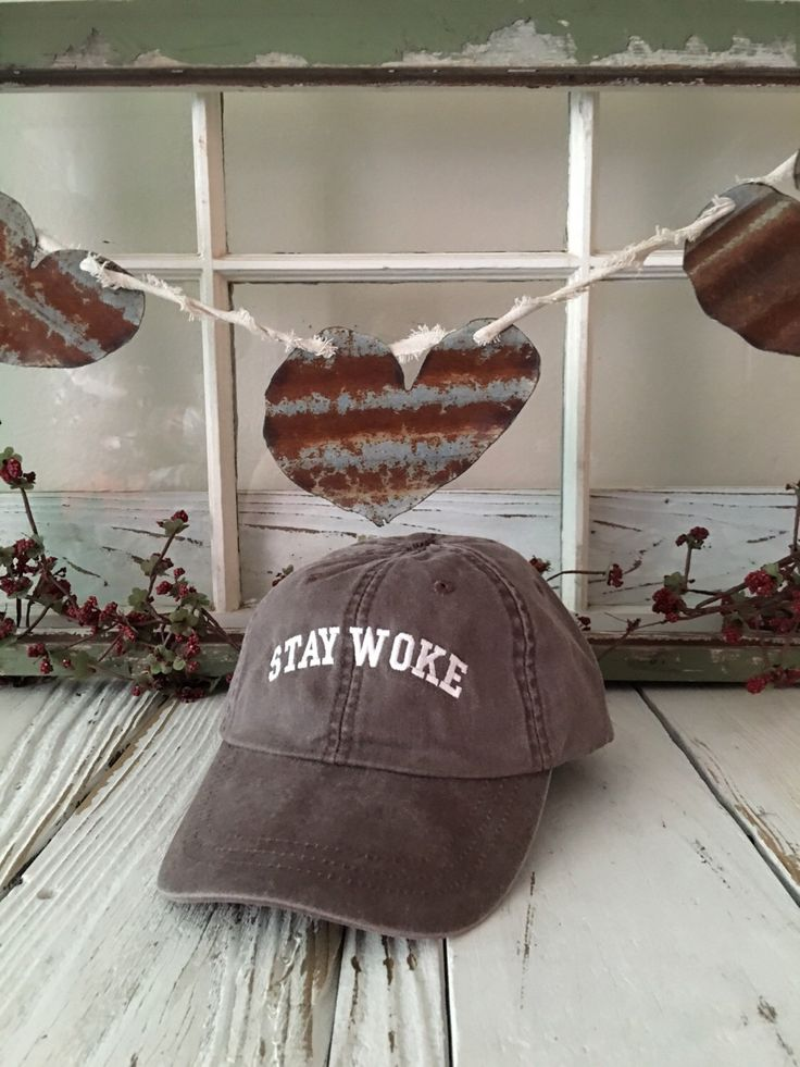 STAY WOKE Washed Baseball Hat Low Profile Embroidered Baseball Caps Dad Hats Expresso Brown w White Thread by TheHatConnection on Etsy https://www.etsy.com/listing/468307432/stay-woke-washed-baseball-hat-low