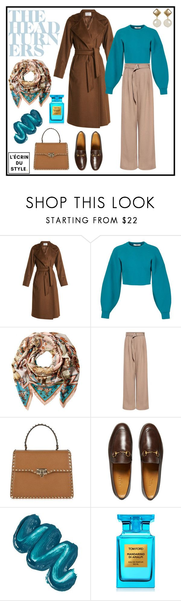 """""""The Touch of Scarf"""" by lecrindustyle ❤ liked on Polyvore featuring MaxMara, TIBI, Hermès, SUNO New York, Valentino, Gucci, Mermaid Salon and Tom Ford"""
