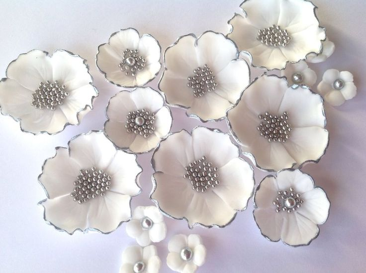 Details About Edible Sugar Flowers Wedding Cake Decorations 15 Golden Silv