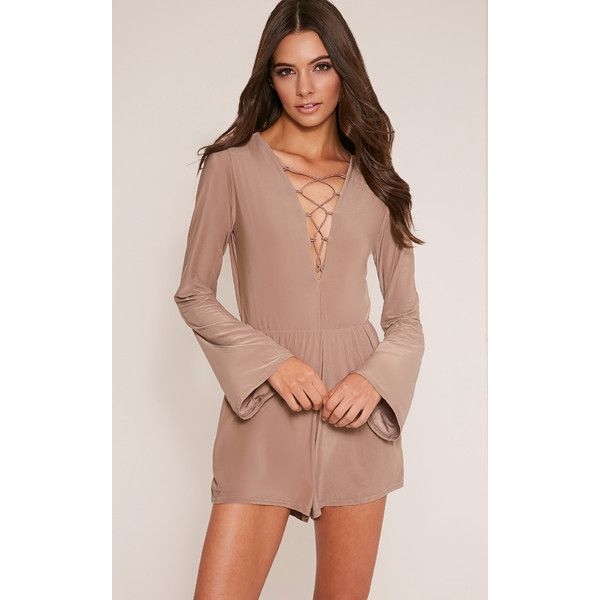 Talma Taupe Lace Up Slinky Playsuit ($7.51) ❤ liked on Polyvore featuring jumpsuits, rompers, brown, playsuit romper, brown romper and boho romper