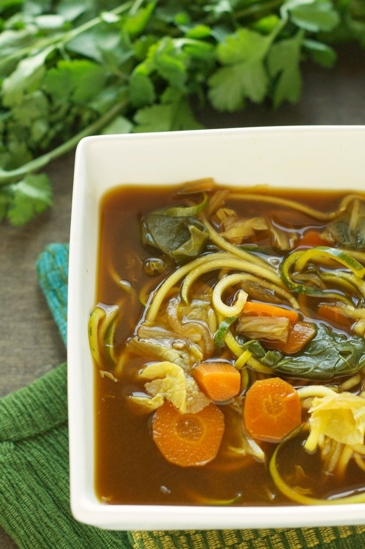 Crockpot Miso Vegetable Zoodle Soup -I could go for this. In my mini crock pot?