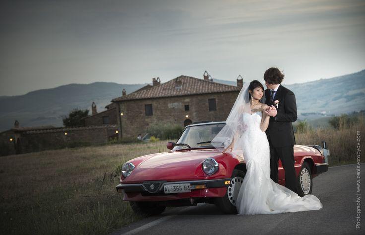 Retro cabrio Alfa Romeo for this Tuscan Wedding / Ретро кабрио Альфа Ромео для этой свадьбы в Тоскане