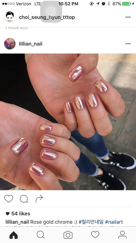 Rose gold chrome metal nails