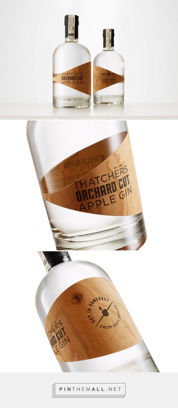 Thatchers Orchard Cut Apple Gin real wood label design by cookchick - http://www.packagingoftheworld.com/2016/09/thatchers-orchard-cut-apple-gin.html