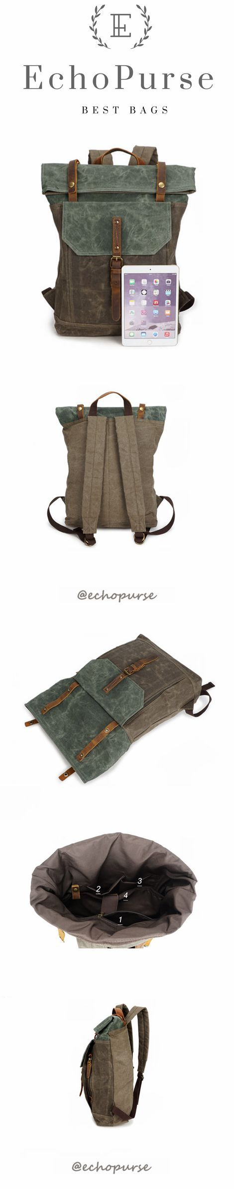 Vintage Canvas Backpack For Man, Green And Cyan Waterproof Travel Rucksack YD191