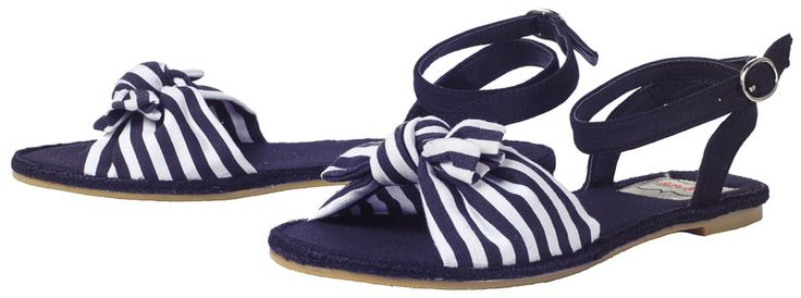 BETTIE PAGE NAUTICAL STRIPES SANDAL BLUE/WHT Kick off those boots and slip your toes into a pair of nautical sandals from Bettie Page! These vintage inspired sandals feature a blue & white sailor knot across the toes & adjustable straps around the ankle. $30.00 #sandals #shoes #bettiepage #nautical #striped #pinup #pinupstyle #accessories #summer #spring #navy