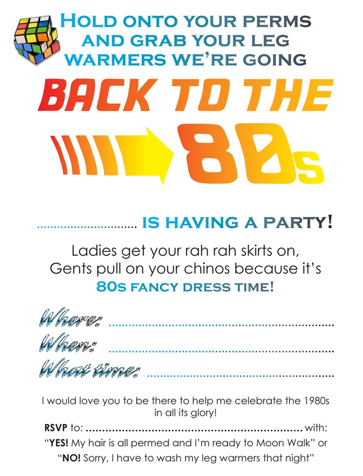 FREE downloadable 80s party invitations. Available at http://www.lifesacelebration.co.uk/index.php?id=grown-ups