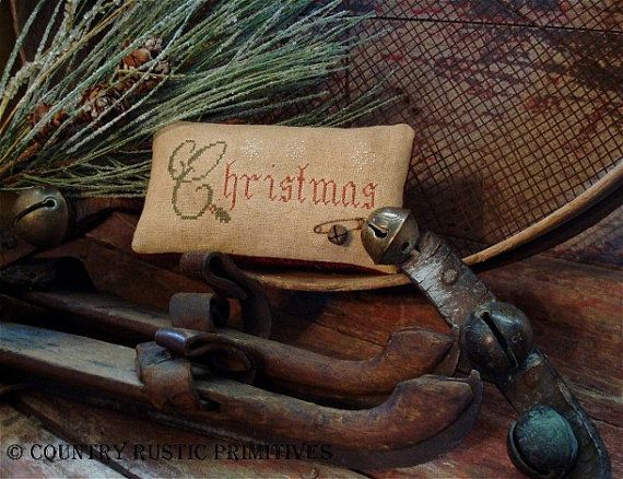 Primitive Christmas Holly And Snowflakes Pillow door countryrustic