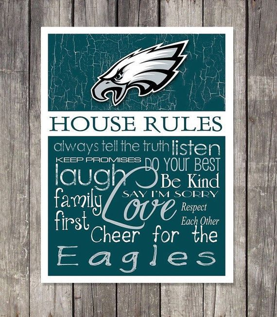 Philadelphia Eagles House Rules 4x4.1/2 Fridge Magnet. Great for anyones Mancave, Fridge, Tool Box, or wherever a magnet sticks.