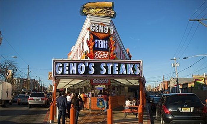 Geno's Steaks cheesesteak restaurant in South Philly