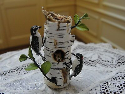 Mary-McGrath-Woodpeckers-on-White-Birch-Tree-Artist-Signed-Dollhouse-Miniature