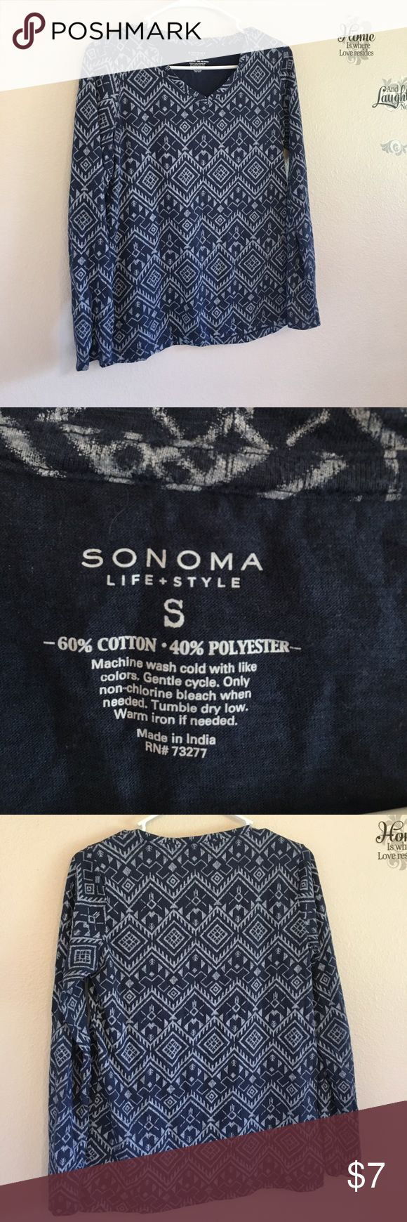 Women's Long sleeved tee by Sonoma This sweet long sleeved tee with Aztec print by Sonoma is a great addition to anyone's closet! Like new condition. Grab it while you can! Bundle any two items and get 10% off ! Sonoma Tops Tees - Long Sleeve